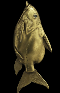 This gold-covered fish pendant was probably worn as a hair ornament. It is about an inch-and-a-half long, yet detailed enough that the species can be identified: Synodontis batensoda. Anna-Marie Kellen/Trustees of the National Museums of Scotland)